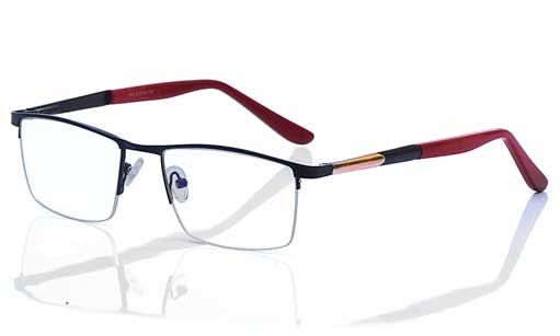 Red and golden half rim frames