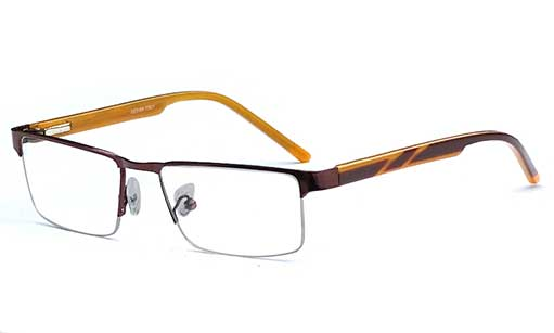 Brown and yellow designer Half rim frame